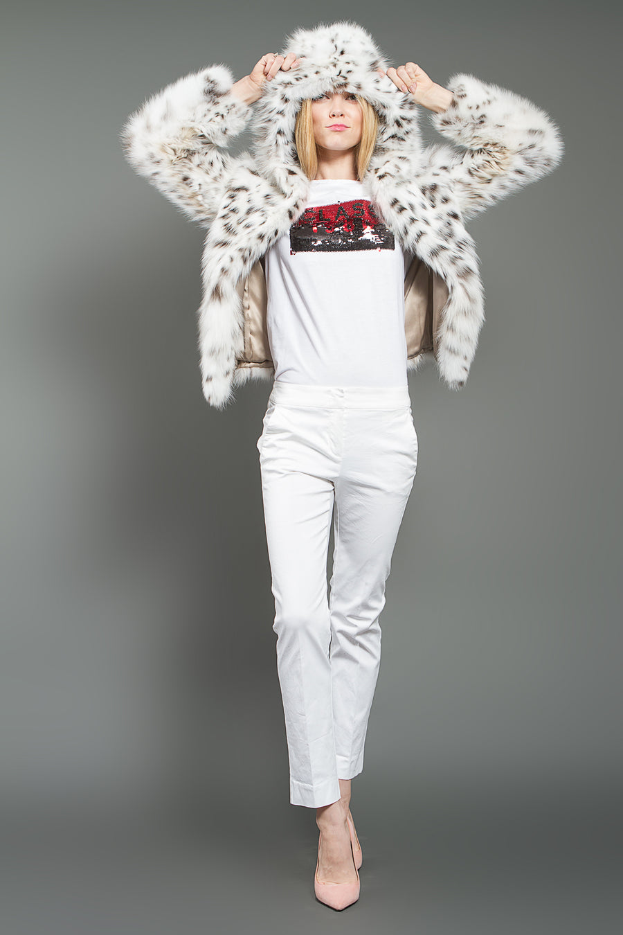 White Lynx Fur Jacket with Hood