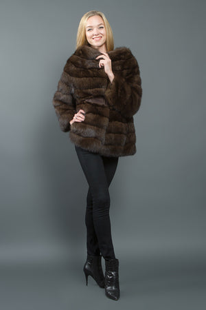 Silvery Russian Sable Long Jacket