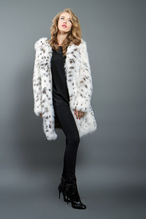 White Lynx Fur Coat with Hood