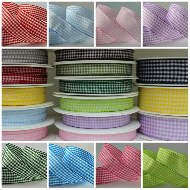 Gingham Ribbon 25 Metre Reel