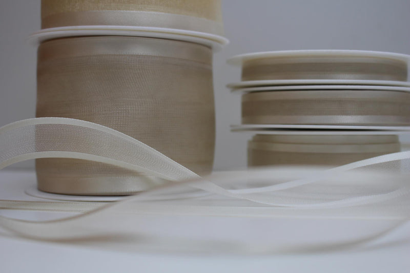 Satin Edge Sheer Organza Ribbon 25 Metre Reel Choice of Widths