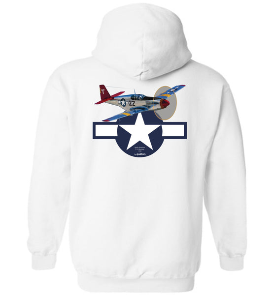 WWII - P-51 Mustang (Red Tails) - Cotton and Polyester Hoodie