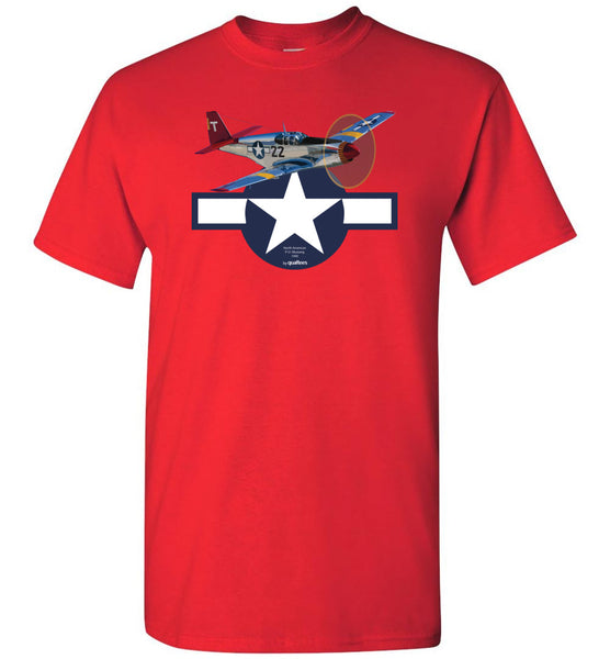 WWII - P-51 Mustang (Red Tails) - Unisex / Men / Börn Cotton T-Shirt