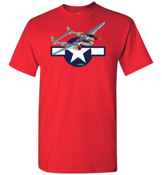 WWII - P-38 Lightning v.2 - Unisex / Fir / Leanaí Cotton T-Shirt