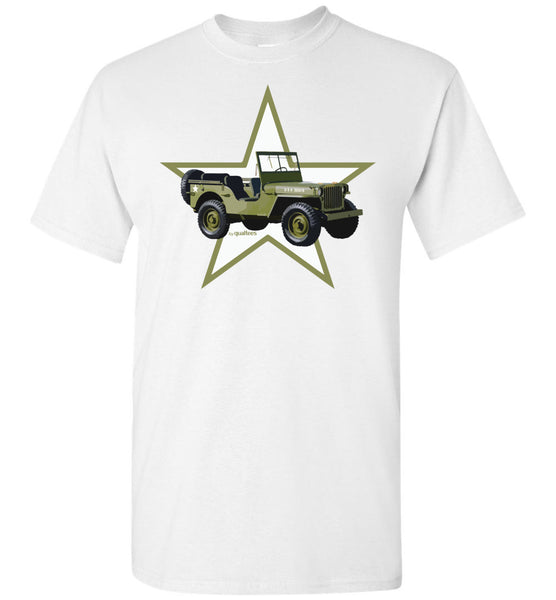 Red Ball Express - Willis Jeep (Green Star) - Bómull T-Shirt