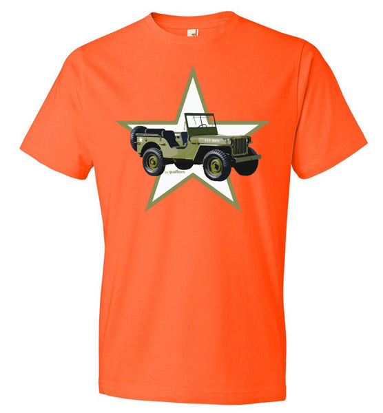 Red Ball Express - Willis Jeep (Green Star) - Camiseta de algodón
