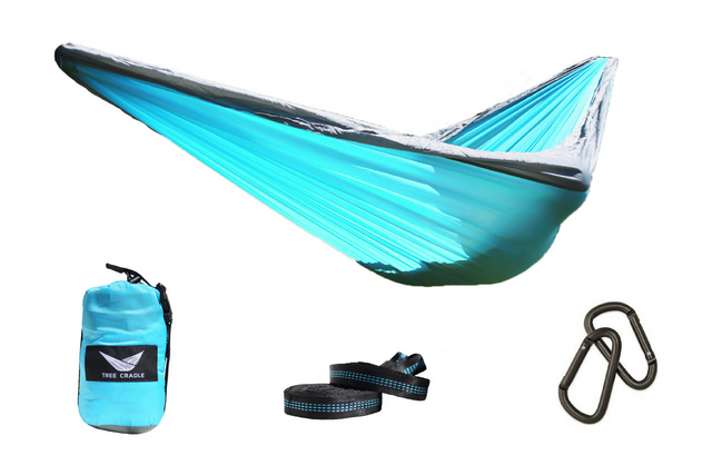 Light Blue Water Resistant Double Wide Parachute Hammock