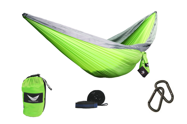Green Water Resistant Double Wide Parachute Hammock