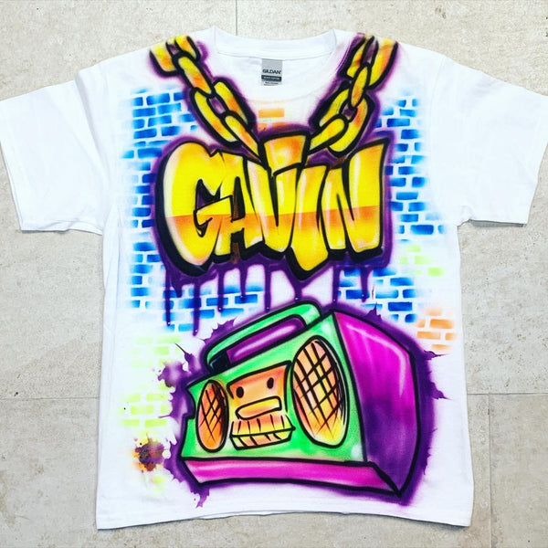 Airbrush 90's Boombox Shirt Design