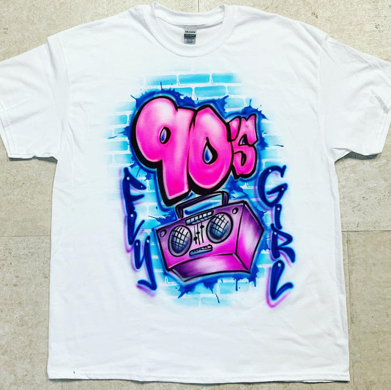 airbrush custom spray paint  Airbrush 90's Fly Girl w/ Boombox Shirt Design shirts hats shoes outfit  graffiti 90s 80s design t-shirts  Airbrush Brothers Shirt