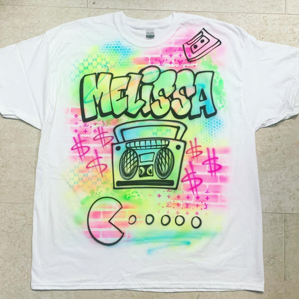 airbrush custom spray paint  Airbrush 90's Pac-Man Shirt Design shirts hats shoes outfit  graffiti 90s 80s design t-shirts  Airbrush Brothers Shirt