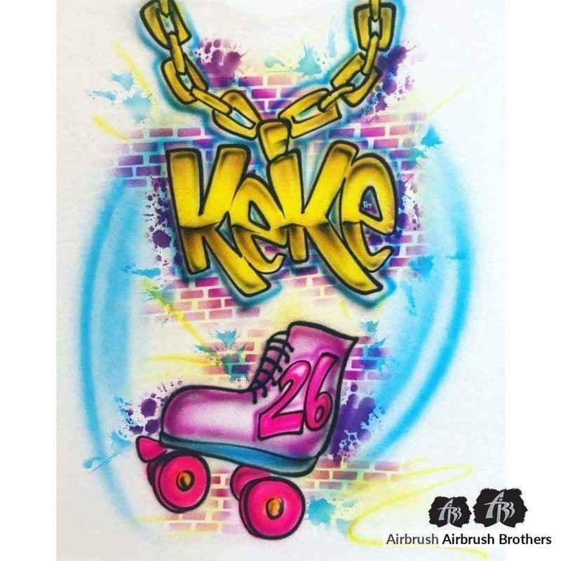airbrush custom spray paint  Airbrush 90s Skate Birthday Design shirts hats shoes outfit  graffiti 90s 80s design t-shirts  AirbrushBrothers Shirt