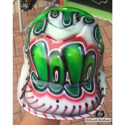airbrush custom spray paint  Airbrush Baseball Flame Design shirts hats shoes outfit  graffiti 90s 80s design t-shirts  AirbrushBrothers helmet