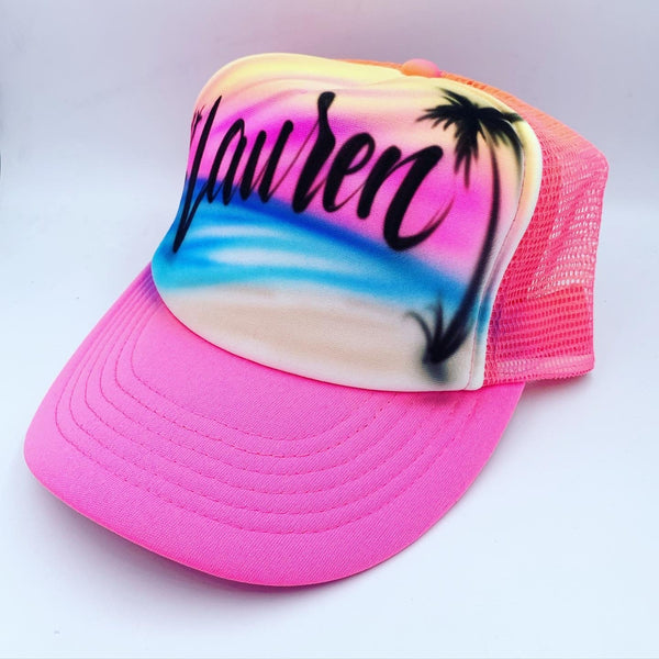 airbrush custom spray paint  Airbrush Beach with Palm Trees Hat Design shirts hats shoes outfit  graffiti 90s 80s design t-shirts  Airbrush Brothers Hats