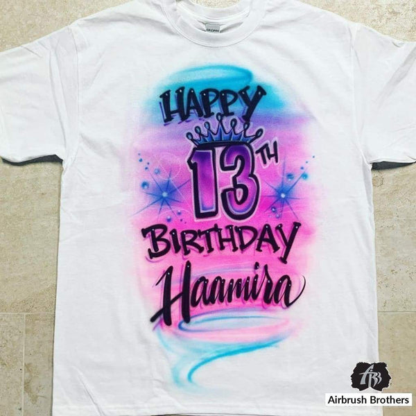 airbrush custom spray paint  Airbrush Birthday Crown Design shirts hats shoes outfit  graffiti 90s 80s design t-shirts  Airbrush Brothers Shirt