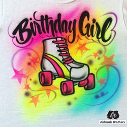 airbrush custom spray paint  Airbrush Birthday Girl Skate Design shirts hats shoes outfit  graffiti 90s 80s design t-shirts  AirbrushBrothers Shirt