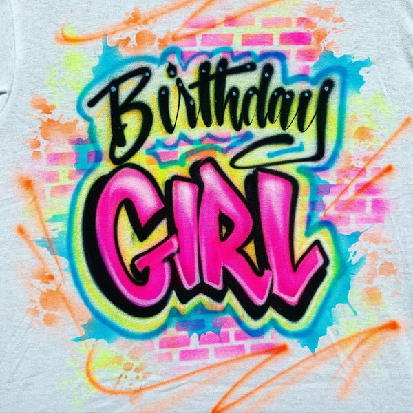 airbrush custom spray paint  Airbrush Birthday Girl with Bricks Shirt Design shirts hats shoes outfit  graffiti 90s 80s design t-shirts  Airbrush Brothers Shirt