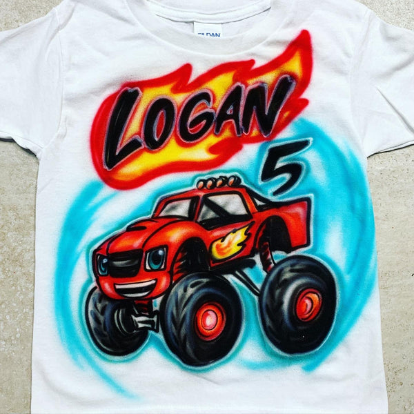 airbrush custom spray paint  Airbrush Birthday Truck Design shirts hats shoes outfit  graffiti 90s 80s design t-shirts  Airbrush Brothers Shirt