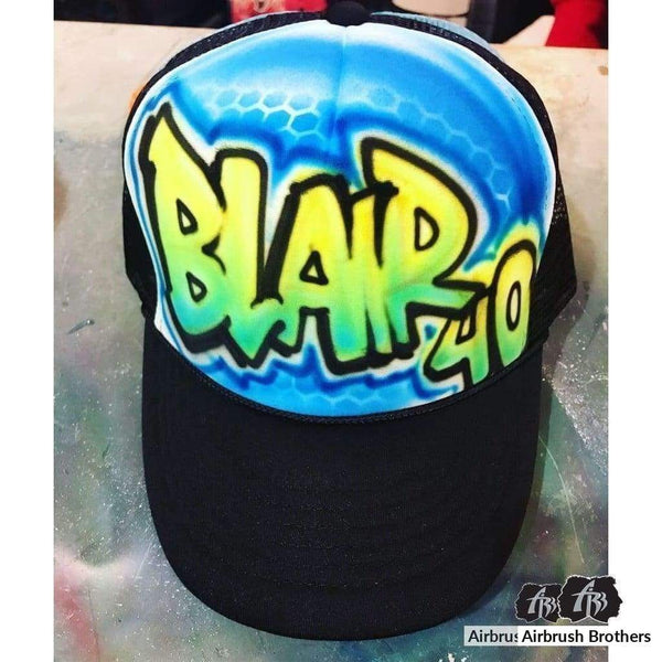 airbrush custom spray paint  Airbrush Block Letters with Fade Hat Design shirts hats shoes outfit  graffiti 90s 80s design t-shirts  Airbrush Brothers Hats