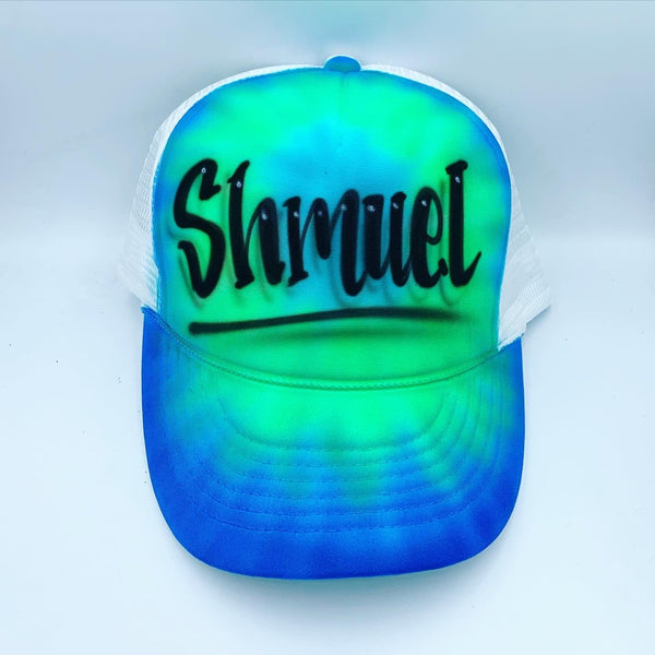 airbrush custom spray paint  Airbrush Blue Tie Dye Hat Design shirts hats shoes outfit  graffiti 90s 80s design t-shirts  Airbrush Brothers Hats