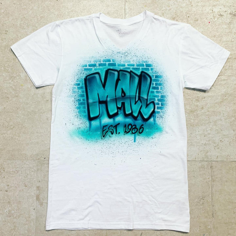 airbrush custom spray paint  Airbrush Brick Background Shirt Design shirts hats shoes outfit  graffiti 90s 80s design t-shirts  Airbrush Brothers Shirt