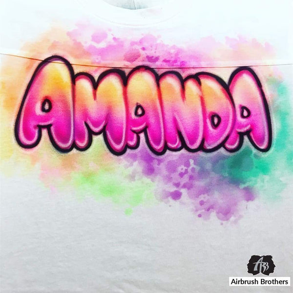 airbrush custom spray paint  Airbrush Bubble Name Shirt Design shirts hats shoes outfit  graffiti 90s 80s design t-shirts  Airbrush Brothers Shirt
