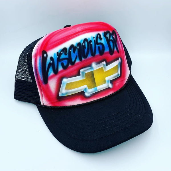 airbrush custom spray paint  Airbrush Chevrolet Logo Hat Design shirts hats shoes outfit  graffiti 90s 80s design t-shirts  Airbrush Brothers Hats