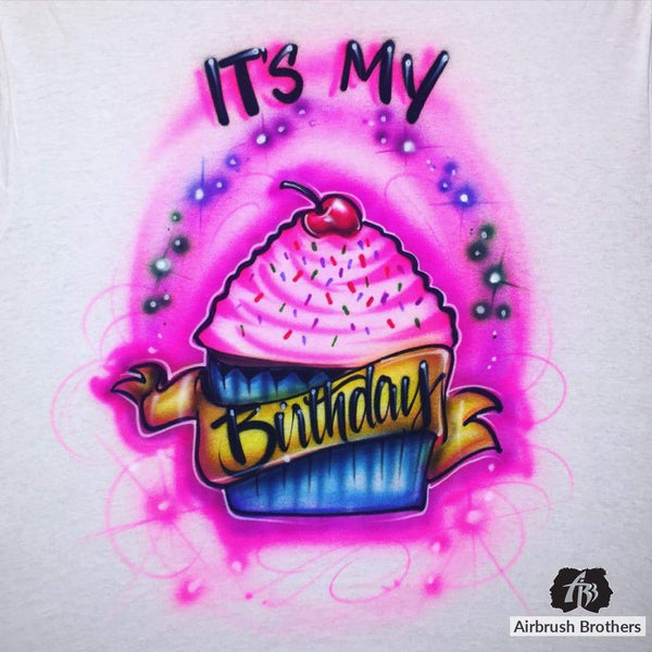 airbrush custom spray paint  Airbrush Cupcake Birthday Design shirts hats shoes outfit  graffiti 90s 80s design t-shirts  AirbrushBrothers Shirt