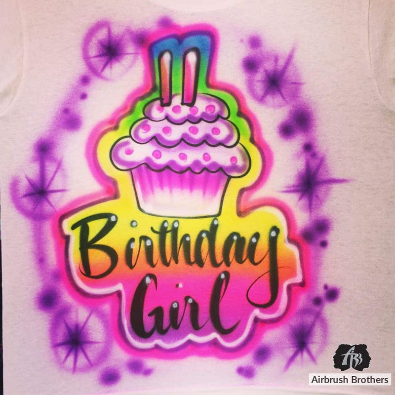 airbrush custom spray paint  Airbrush Cupcake Birthday Girl Design shirts hats shoes outfit  graffiti 90s 80s design t-shirts  AirbrushBrothers Shirt