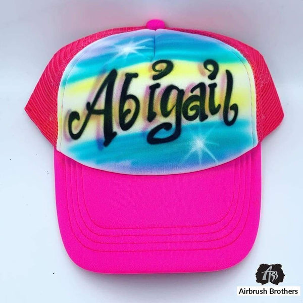 airbrush custom spray paint  Airbrush Curly Name Hat Design shirts hats shoes outfit  graffiti 90s 80s design t-shirts  Airbrush Brothers Hats