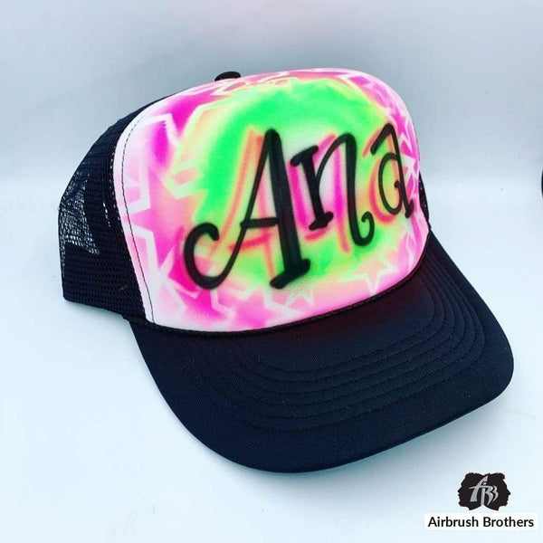 airbrush custom spray paint  Airbrush Curly Name with Stars Design shirts hats shoes outfit  graffiti 90s 80s design t-shirts  Airbrush Brothers Hats