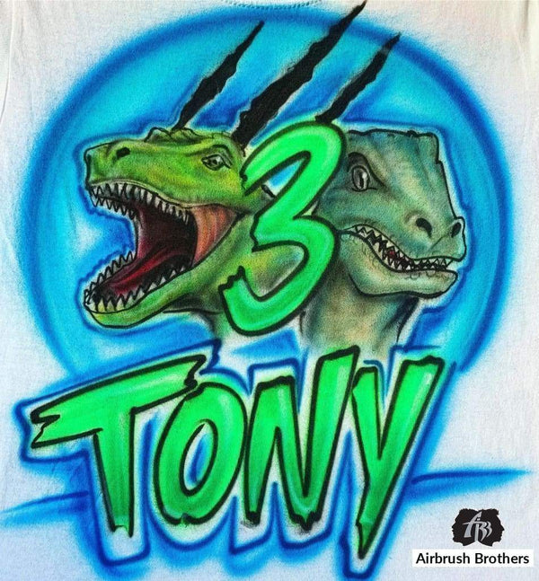 airbrush custom spray paint  Airbrush Dinosaurs Birthday Design shirts hats shoes outfit  graffiti 90s 80s design t-shirts  Airbrush Brothers Shirt