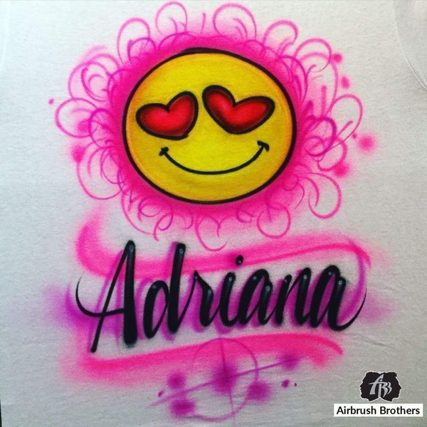 airbrush custom spray paint  Airbrush Emoji Shirt Design shirts hats shoes outfit  graffiti 90s 80s design t-shirts  Airbrush Brothers Shirt