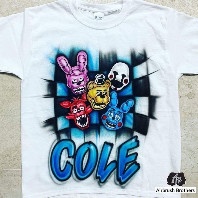 airbrush custom spray paint  Airbrush Five Nights At Freddy's Block Shirt Design shirts hats shoes outfit  graffiti 90s 80s design t-shirts  Airbrush Brothers shirt