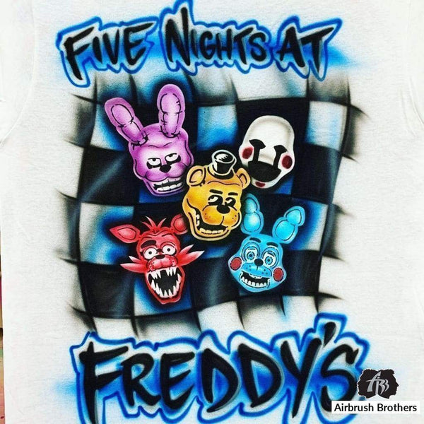 airbrush custom spray paint  Airbrush Five Nights At Freddy's Design shirts hats shoes outfit  graffiti 90s 80s design t-shirts  Airbrush Brothers Shirt
