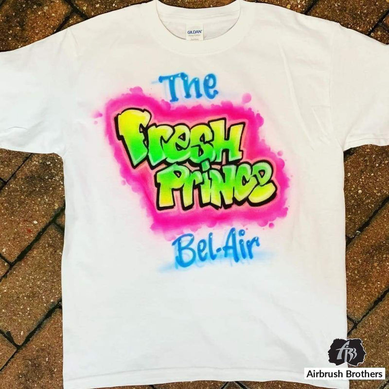 airbrush custom spray paint  Airbrush Fresh Prince Shirt Design shirts hats shoes outfit  graffiti 90s 80s design t-shirts  Airbrush Brothers Shirt