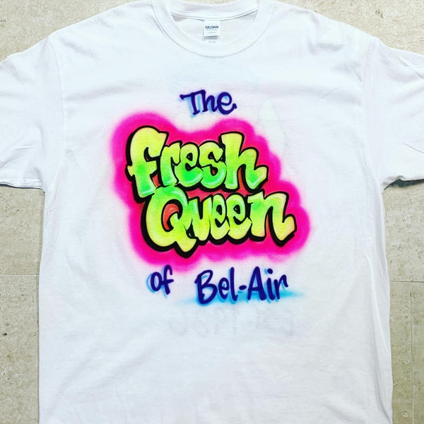 airbrush custom spray paint  Airbrush Fresh Queen Shirt Design shirts hats shoes outfit  graffiti 90s 80s design t-shirts  Airbrush Brothers Shirt