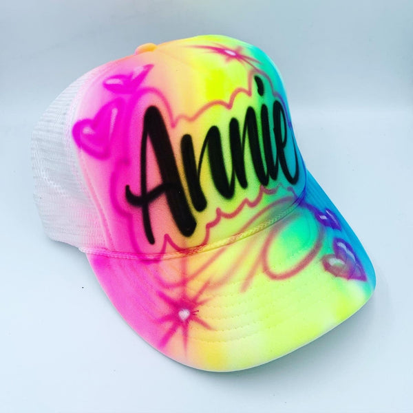 airbrush custom spray paint  Airbrush Full Rainbow Hat Design shirts hats shoes outfit  graffiti 90s 80s design t-shirts  Airbrush Brothers Hats