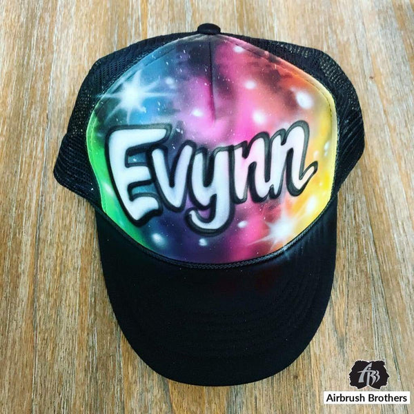 airbrush custom spray paint  Airbrush Galaxy Hat Design shirts hats shoes outfit  graffiti 90s 80s design t-shirts  Airbrush Brothers Hats
