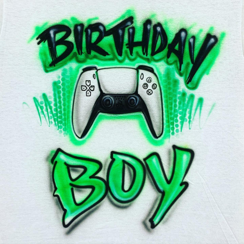 airbrush custom spray paint  Airbrush Gamer Birthday Boy Shirt Design shirts hats shoes outfit  graffiti 90s 80s design t-shirts  Airbrush Brothers Shirt