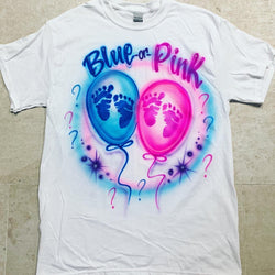 airbrush custom spray paint  Airbrush Gender Reveal: Pink or Blue Shirt Design shirts hats shoes outfit  graffiti 90s 80s design t-shirts  Airbrush Brothers Shirt