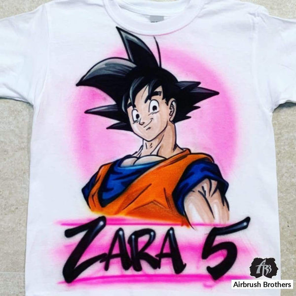 airbrush custom spray paint  Airbrush Goku Cartoon Design shirts hats shoes outfit  graffiti 90s 80s design t-shirts  Airbrush Brothers Shirt