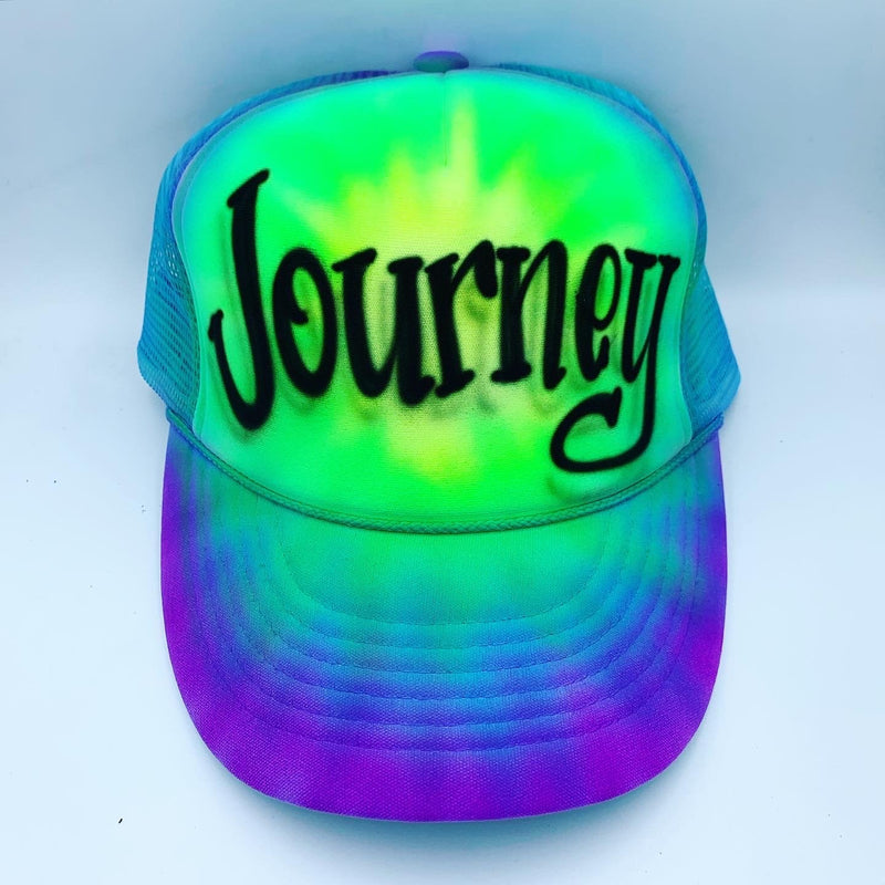 airbrush custom spray paint  Airbrush Green Tie Dye Hat Design shirts hats shoes outfit  graffiti 90s 80s design t-shirts  Airbrush Brothers Hats