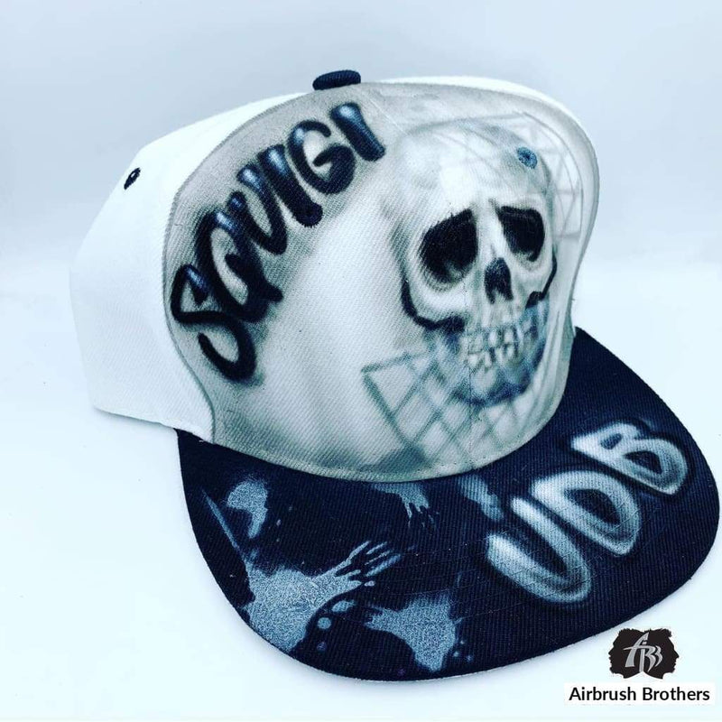 airbrush custom spray paint  Airbrush Hat Skull Design shirts hats shoes outfit  graffiti 90s 80s design t-shirts  AirbrushBrothers Hats