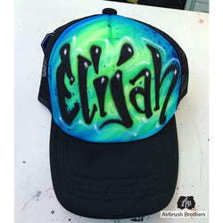 airbrush custom spray paint  Airbrush Hat Tag Design shirts hats shoes outfit  graffiti 90s 80s design t-shirts  AirbrushBrothers Hats