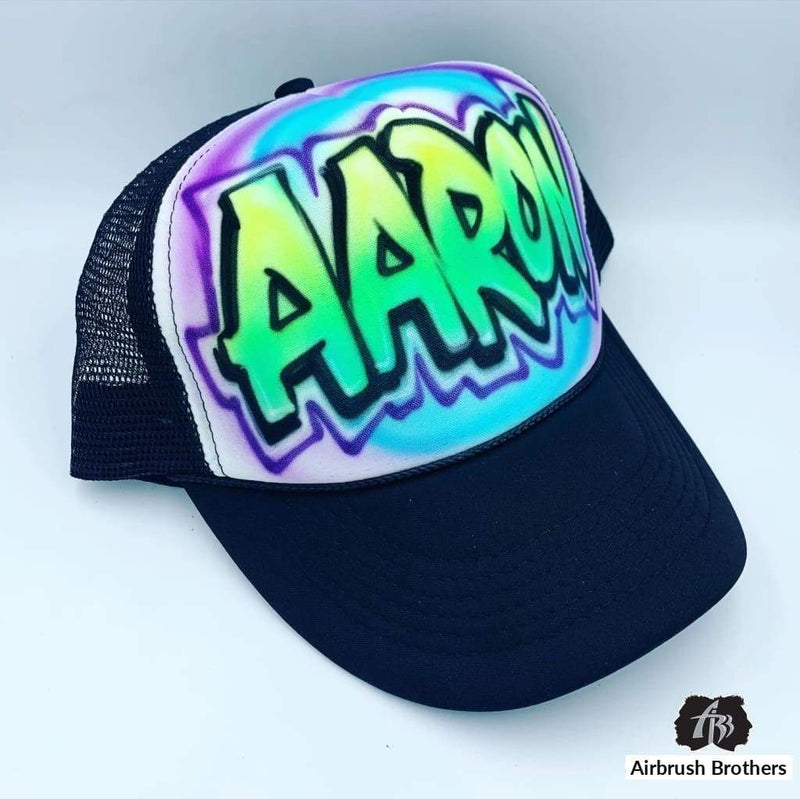 airbrush custom spray paint  Airbrush Hat with Fade in Name Design shirts hats shoes outfit  graffiti 90s 80s design t-shirts  Airbrush Brothers Hats