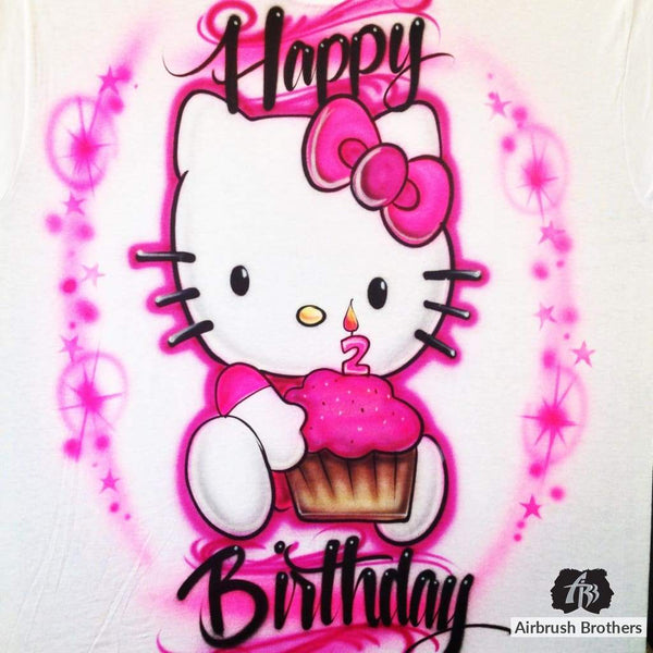airbrush custom spray paint  Airbrush Hello Kitty Birthday Design shirts hats shoes outfit  graffiti 90s 80s design t-shirts  AirbrushBrothers Shirt