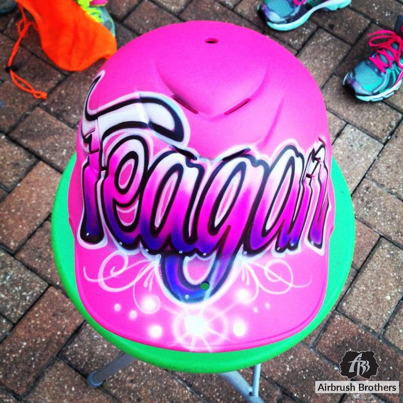 airbrush custom spray paint  Airbrush Helmet Name Design shirts hats shoes outfit  graffiti 90s 80s design t-shirts  AirbrushBrothers helmet