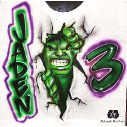airbrush custom spray paint  Airbrush Hulk Birthday Design shirts hats shoes outfit  graffiti 90s 80s design t-shirts  AirbrushBrothers Shirt