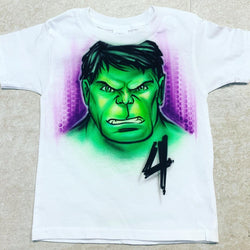 airbrush custom spray paint  Airbrush Hulk Face Birthday Design shirts hats shoes outfit  graffiti 90s 80s design t-shirts  Airbrush Brothers Shirt